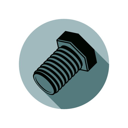 spare part: Three-dimensional bolt, spare part used in manufacturing, building and carpentry. High quality stylish vector illustration of a screw.