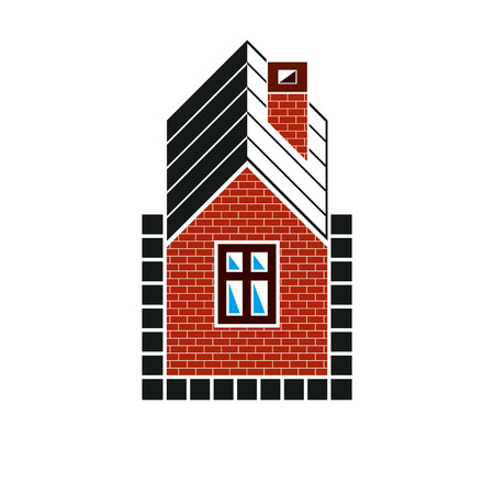conceptual symbol: Simple house icon for graphic design, mansion conceptual symbol, vector property image. Real estate business abstract emblem.