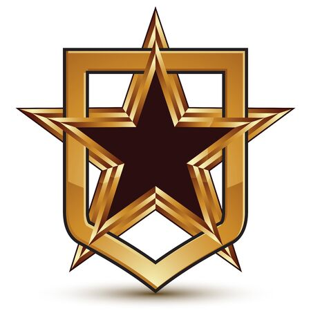 renown: Vector stylized 3d symbol isolated on white background. Glamorous golden pentagonal star placed in a shield, clear EPS 8, refined insignia. Illustration