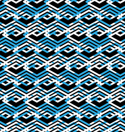 parallelogram: Geometric lined seamless pattern, colorful vector endless background. Symmetric decorative motif texture with intertwine rhombs created from black lines. Blue layered ornate covering, best for web and graphic design.