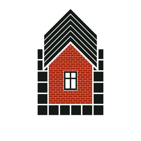 mansion: Simple house icon for graphic design, mansion conceptual symbolm, vector property image. Real estate business abstract emblem.