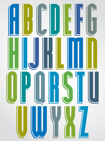 upper case: Colorful animated font, comic upper case letters with white outline.