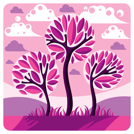 setting sun: Art vector graphic illustration of stylized branchy tree and peaceful purple fantastic landscape with clouds and setting sun, fairy countryside view. Beautiful nature.