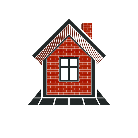 locality: Simple house icon for graphic design, mansion conceptual symbo, vector property image. Real estate business abstract emblem.