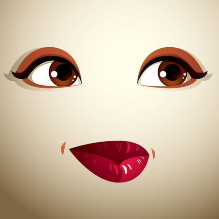 distrustful: Facial expression of a young pretty woman. Coquette lady visage, human eyes and lips. Illustration