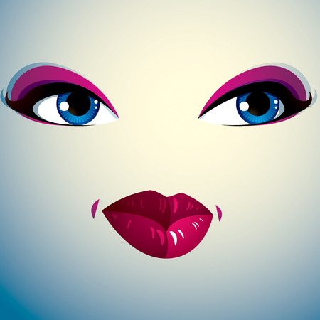 countenance: Face makeup, lips and eyes of an attractive woman displaying passion.