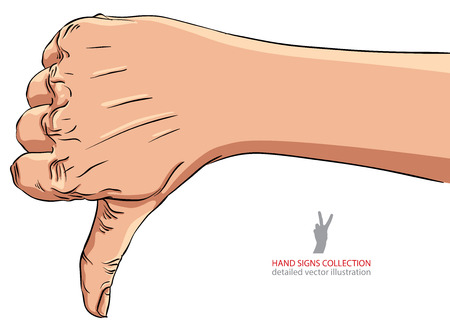 disapprove: Thumb down hand sign, detailed vector illustration.