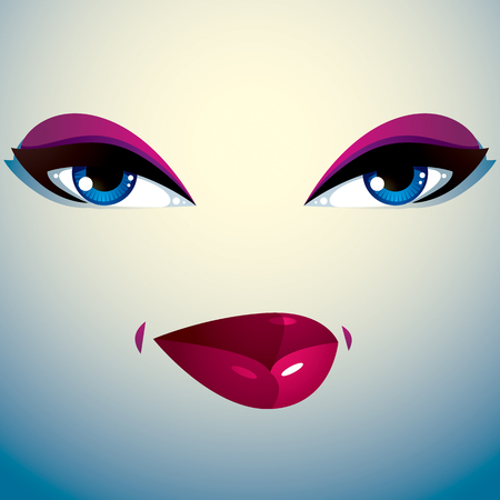 coquete: Coquette woman eyes and lips, stylish makeup. People facial emotions, sly and tricky. Ilustra��o