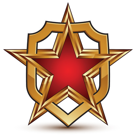 escutcheon: Geometric vector glossy golden element isolated on white backdrop, 3d polished star shaped blazon with red filling. Five stars branded symbol. Glamorous escutcheon. Illustration