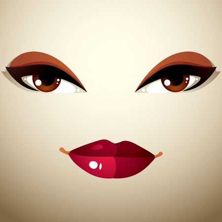 coquete: Facial expression of a young pretty woman. Coquette lady visage, human eyes and lips. Ilustra��o