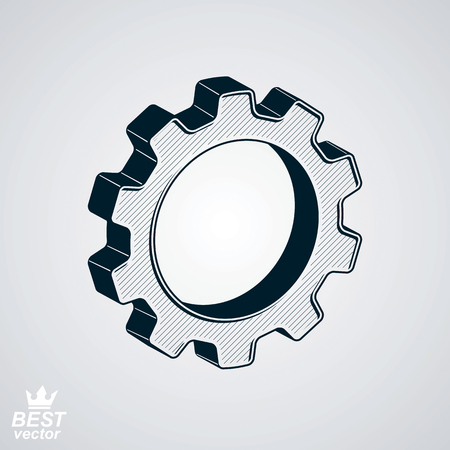 fix gear: Dimensional classic cog wheel vector illustration isolated on white background. 3d engineering design element – manufacturing tools. Industry and manufacture theme icon.