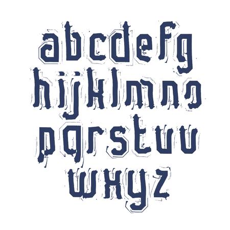 lettre alphabet: Manuscrit contemporains lettres vecteur de minuscules, alphabet peint � la main doodle.