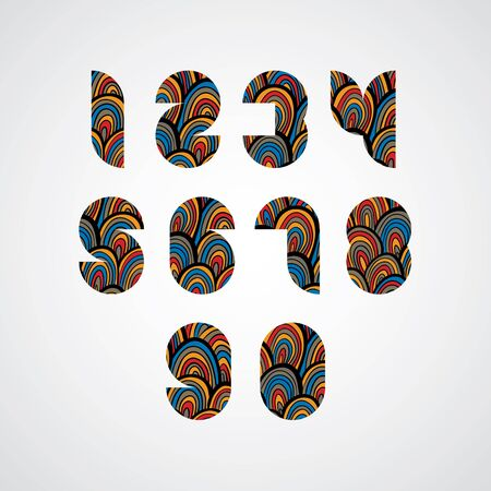 numbers abstract: Pattern ornamental colorful abstract numbers.
