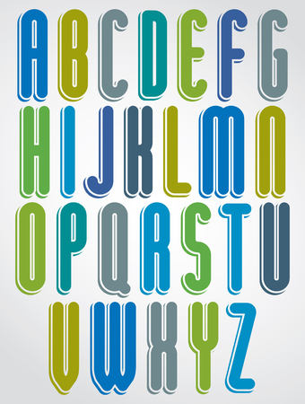 writing letter: Rounded cartoon colorful uppercase letters with white outline, jolly animated font.