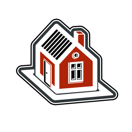 mansion: Simple village mansion icon, vector abstract house. Country house, conceptual sign best for use in graphic and web design.