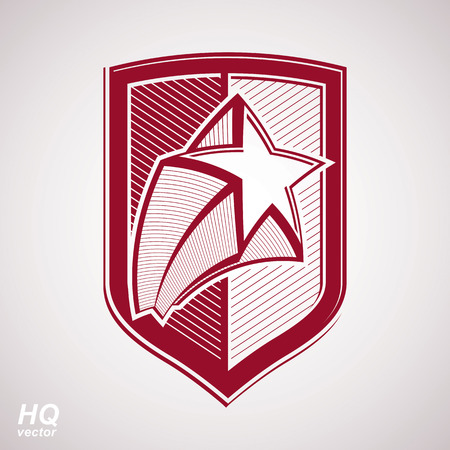 communistic: Vector military shield with pentagonal comet star, protection heraldic sheriff blazon. Ussr communistic conceptual symbol. Forces graphical coat of arms. Soviet Union theme.