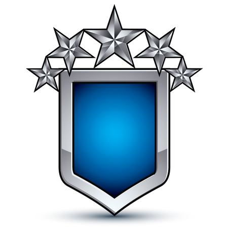 five stars: Majestic blue vector emblem with five silver decorative pentagonal stars, 3d royal conceptual design element, clear eps8. Shiny coat of arms isolated on white background. Heraldic escutcheon.