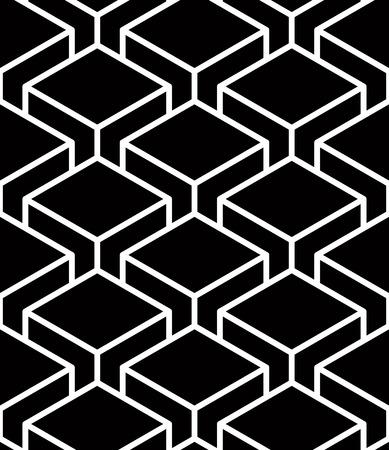 intertwine: Endless monochrome symmetric pattern, graphic design. Geometric intertwine optical composition.