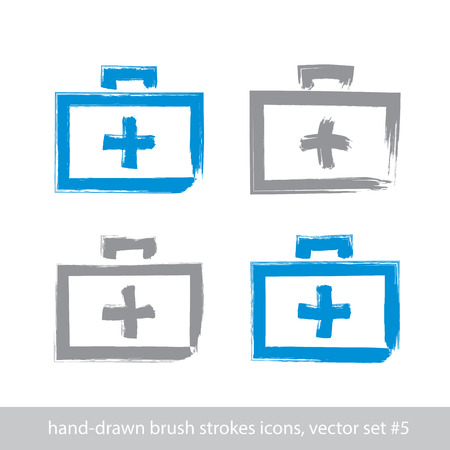 first aid kit: Set of brush drawing simple blue first aid kit, medicine icons created with real hand-drawn ink brush scanned and vectorized, freehand strokes icons.