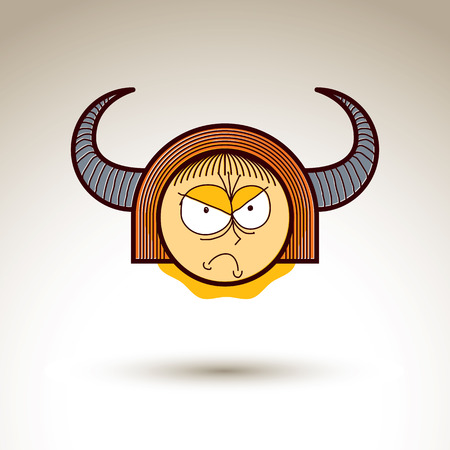 horny: Vector art hand drawn illustration of angry person. Girl temperament idea, emotions on woman face. Web avatar for social interaction, allegory drawing.