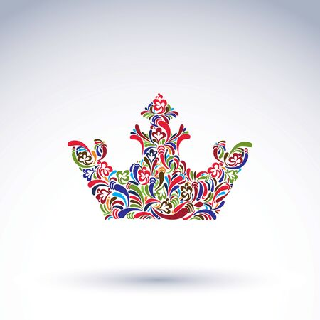 coronation: Colorful flower-patterned crown, coronation design element. Classic royal accessory decorated with abstract flower vector pattern.