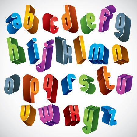 verbs: 3d font, vector colorful letters, geometric dimensional alphabet, best for use in advertising and web design.
