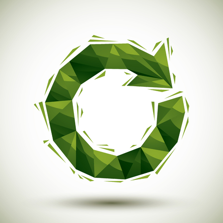recycling symbol: Green reload geometric icon made in 3d modern style, best for use as symbol or design element for web or print layouts