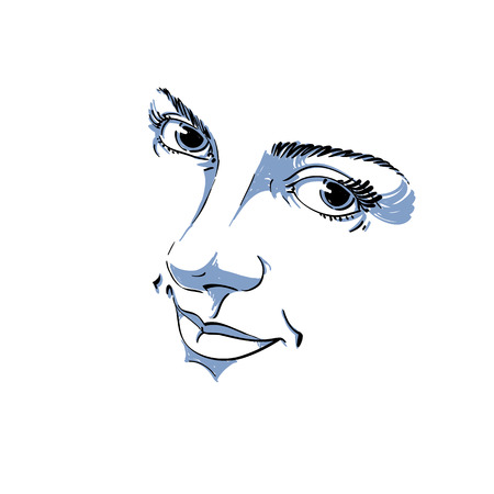 sorrowful: Monochrome silhouette of smiling attractive lady, face features. Hand-drawn vector illustration of woman visage, outline. Illustration