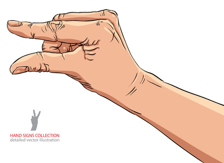 amount: Hand showing small value, or use it to put some small object between the fingers, detailed vector illustration. Illustration