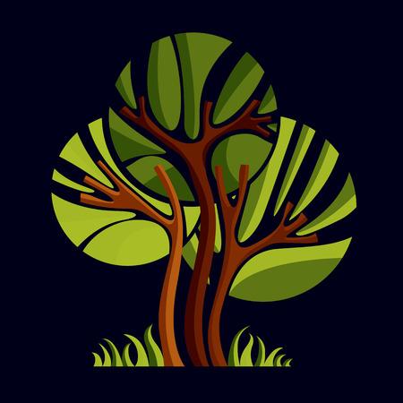 albero della vita: Arte fata illustrazione di albero, simbolo stilizzato ecologico. Immagine di vettore Insight su idea stagione, bella immagine.