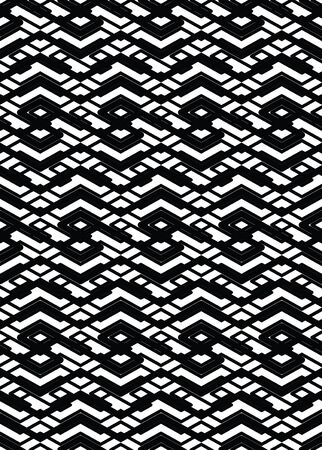 intertwine: Monochrome visual abstract textured geometric seamless pattern. Symmetric black and white vector textile backdrop. Intertwine composition.