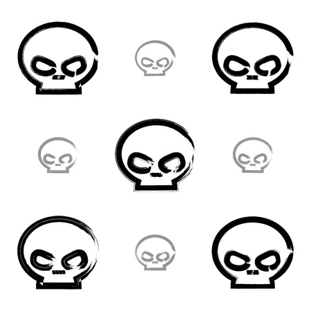 sapiens: Set of brush drawing simple human skulls, collection of painted medicine icons created with real hand-drawn ink brush scanned and vectorized. Illustration