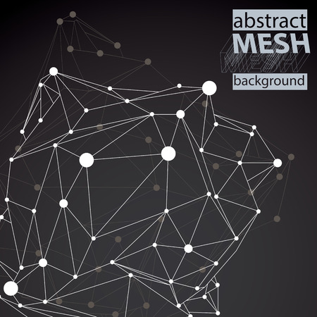 dark backgrounds: Geometric vector abstract 3D complicated lattice backdrop, black and white messy eps8 conceptual tech illustration. Illustration