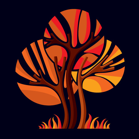 naranja arbol: Art�stico estilizada s�mbolo dise�o natural, ilustraci�n creativa �rbol. Puede ser utilizado como la ecolog�a y el concepto de conservaci�n del medio ambiente.