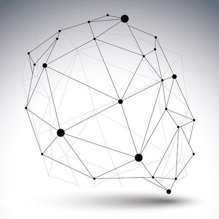 arte abstracto: Vector digital de la abstracci�n 3d, enrejado objeto poligonal geom�trico, perspectiva ca�tica estructura met�lica ilustraci�n inusual. Vectores
