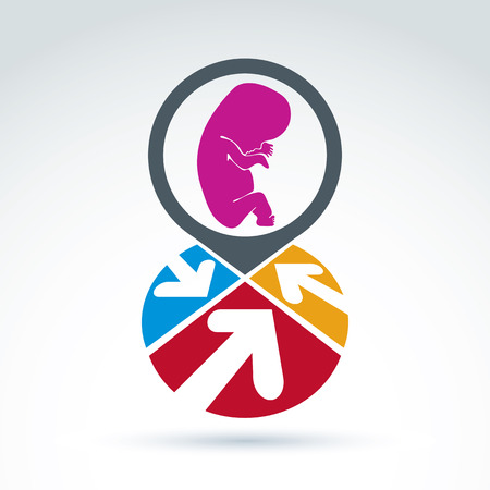 abortion: Colorful corporate brand icon with a baby fetus symbol. Marketing emblem on pregnancy and abortion idea. Abstract sectored icon with arrows and baby embryo sign. Illustration