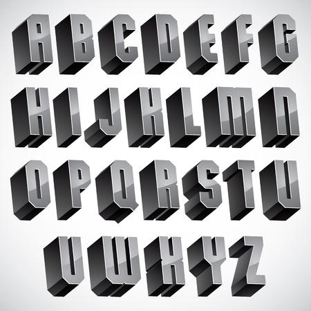 verbs: 3d font, geometric dimensional letters set, monochrome alphabet for design.