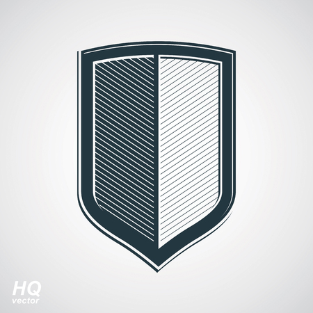 defense: Vector grayscale defense shield, protection design graphic element. High quality illustration on security theme - retro coat of arms.