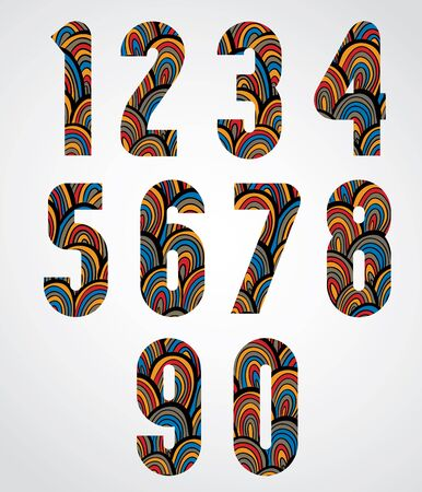 Pattern ornamental colorful abstract numbers.