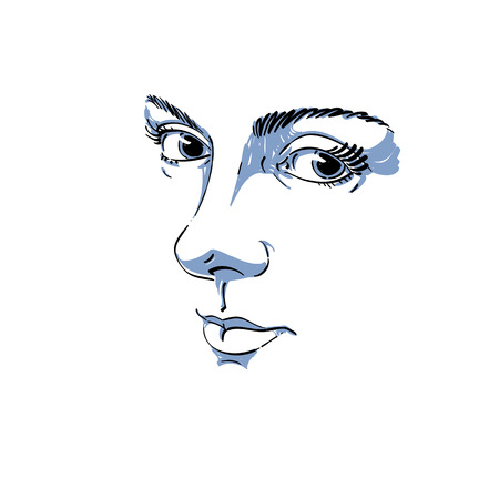 melancholic: Monochrome hand-drawn silhouette of melancholic peaceful woman face, delicate features. Face expression on lady face, vector illustration.