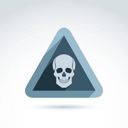 cranium: Vector illustration of a human skull in a triangle. Dead head abstract symbol, cranium icon. Caution concept.