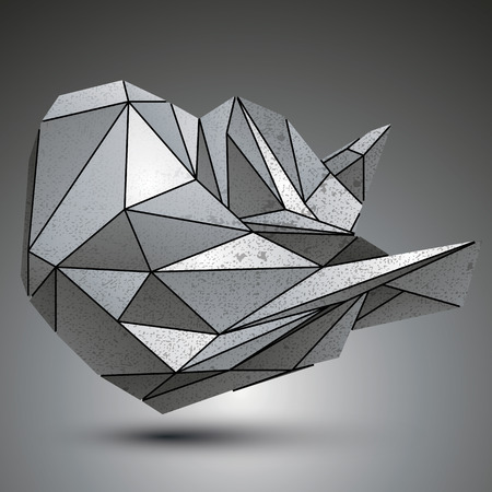 deformed: Deformed sharp metallic object created from geometric figures. Contrast futuristic facet element.