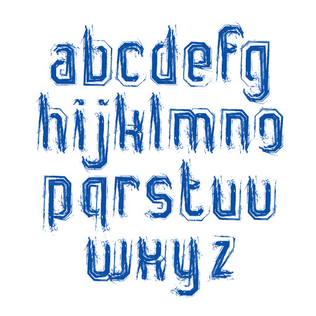 verb: Handwritten lowercase letters with white outline, vector doodle brush typescript, hand-painted set of letters with brushstrokes.