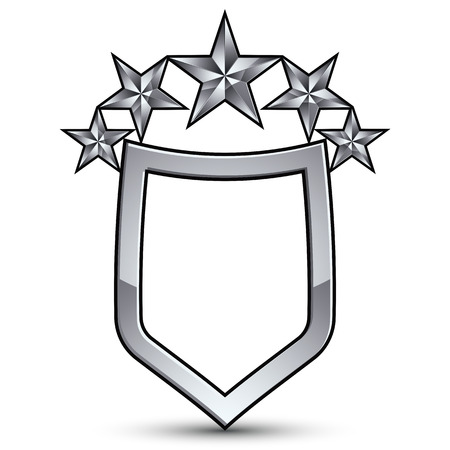 five stars: Festive vector emblem with silver outline and five decorative pentagonal stars, 3d royal conceptual design element, clear eps8. Symbolic coat of arms isolated on white background. Heraldic escutcheon.