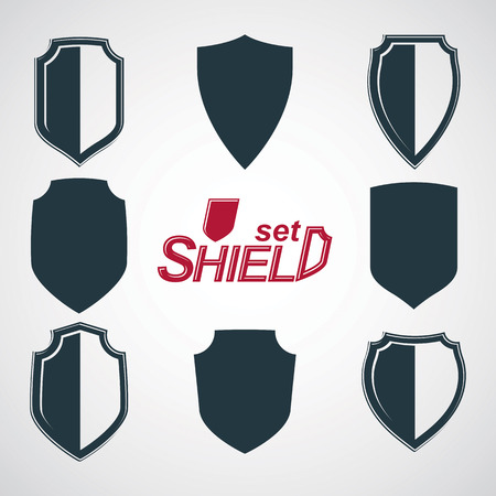Collection of vector grayscale defense shields, protection design graphic elements. High quality heraldic illustrations on security theme – set of retro coat of arms.