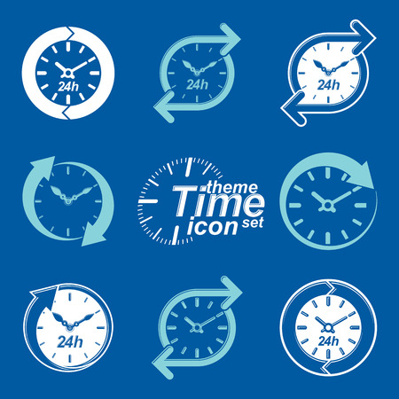 business time: Set of graphic web vector 24 hours timers, around-the-clock flat invert pictograms. Day-and-night interface icon. Collection of business time management illustrations.