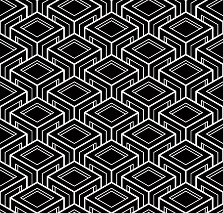 superimpose: Illusive continuous monochrome pattern, decorative abstract background with 3d geometric figures. Contrast ornamental seamless backdrop, can be used for design and textile. Illustration
