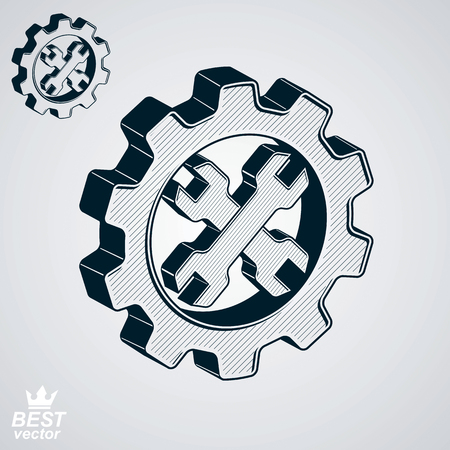 cog wheel: Dimensional cog wheel with two spanners crossed vector illustration. 3d engineering design element – manufacturing tools. Repair theme icon.