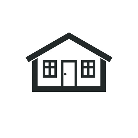 estate planning: Real estate simple business icon isolated on white background, abstract house depiction. Property developer vector symbol, conceptual sign best for use in advertising and branding.