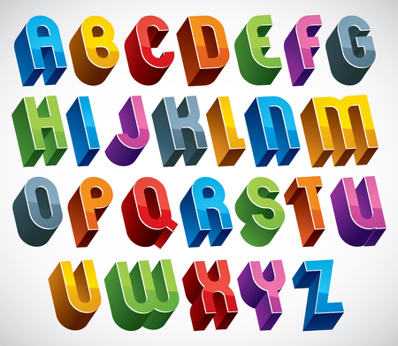 verbs: 3d font, vector colorful glossy letters, geometric dimensional alphabet made with round shapes, best for use in advertising and web design.